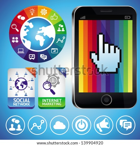 Vector set with internet icons and mobile phone - social marketing signs - stock vector