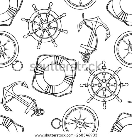Vector set with isolated anchor, lifebuoy, ship's wheel, compass. Black and white
