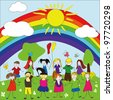 Vector set with kids standing under the rainbow - stock photo
