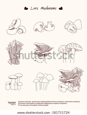 Vector set with mushrooms - stock vector