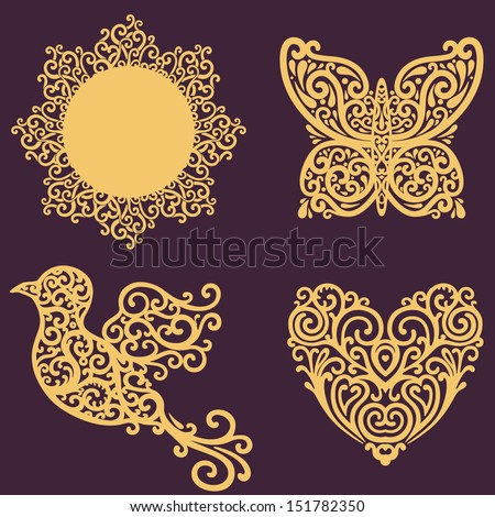 vector set with ornate design elements - stock vector
