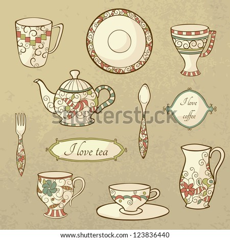 Vector set with plate, teapot and cups in retro style - stock vector