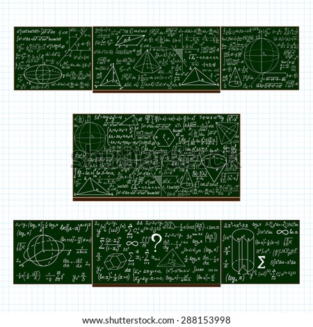 Vector set with school blackboards with handwritten mathematical calculations, plots and figures - stock vector
