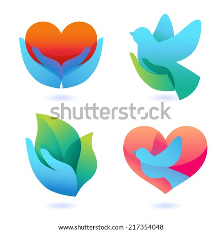 Vector set with signs of love and care - collection with icons for abstract logos and charity organizations - stock vector