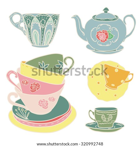 Vector set with teapots and teacups. - stock vector