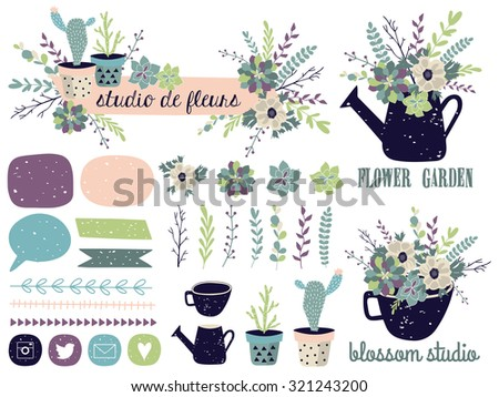 Vector set with vintage flowers. Vector illustration. Succulents, cactus, compositions, shapes, logos, borders. - stock vector