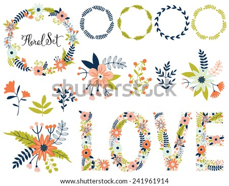 Vector set with vintage flowers. Vector illustration. Vintage love collection. Compositions, wreath, lettering, typography, frame. - stock vector