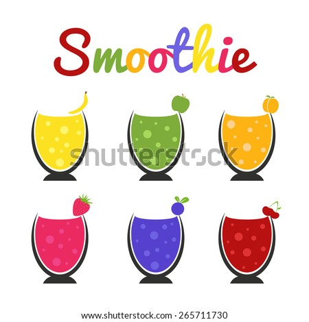 Vector set with wineglasses of healthy smoothie made from fruits - banana, cherry, blackberry, peach, strawberry, apple. Healthcare nutrition illustration - stock vector