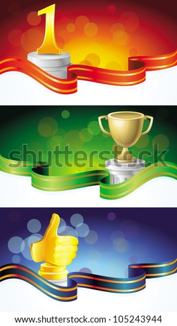 vector set with winner banners - with golden prizes - stock vector