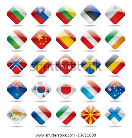 Vector set world flag icons 2 - stock vector