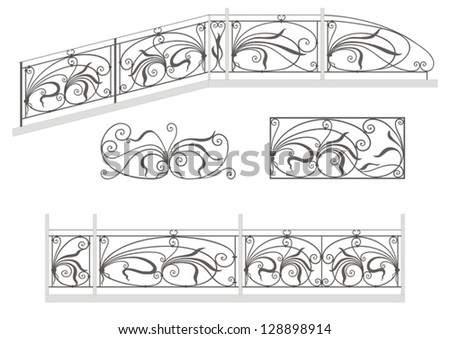Vector set: wrought iron stairs railing, fence and grilles  isolated on white background - stock vector