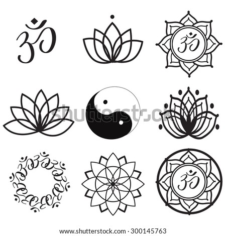 Stock Vector Vector Set Yoga Labels And Icons on aum symbols om graphics hindu religious