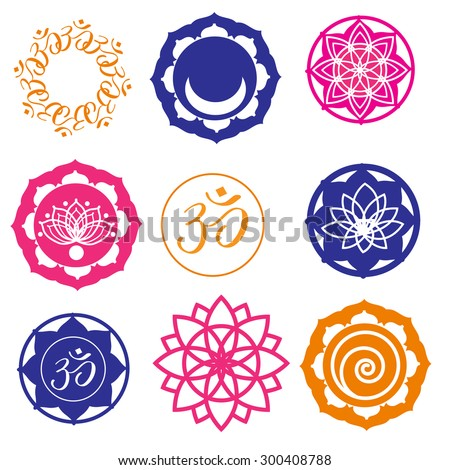 Vector Set Yoga Labels and Icons in colors - stock vector