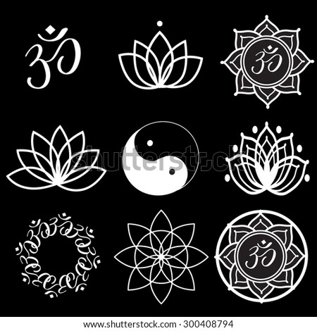Vector Set Yoga Labels and Icons on black - stock vector