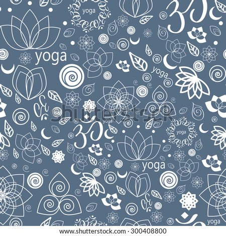 Vector Set Yoga Labels and Icons seamless pattern in blue - stock vector