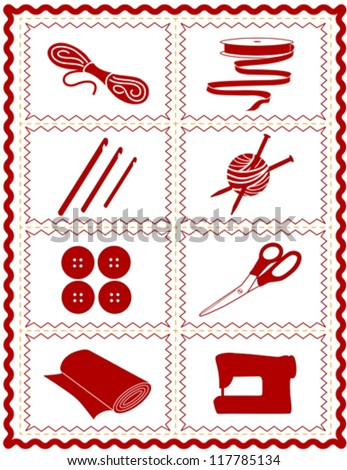 vector – Sewing, Craft Tools for knit, crochet, tailoring, fashion, quilting, do it yourself hobbies: needles, hooks, yarn, buttons, scissors, machine, ribbon, cloth, red  rick rack frame. EPS8. - stock vector