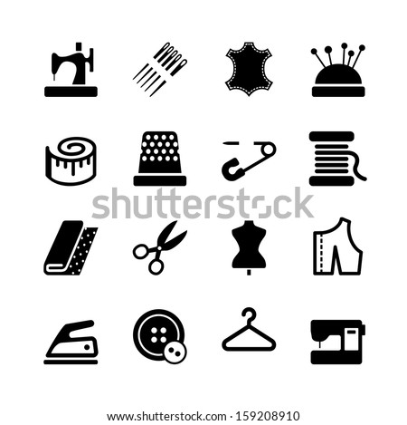 Vector sewing equipment and needlework icon set - stock vector
