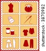 vector – Sewing, Tailoring Tools for dressmaking, textile arts, do it yourself crafts, hobbies, fashion model, pincushion, thimble, needle, thread, clothes patterns, red, gold rick rack frame. EPS8. - stock vector