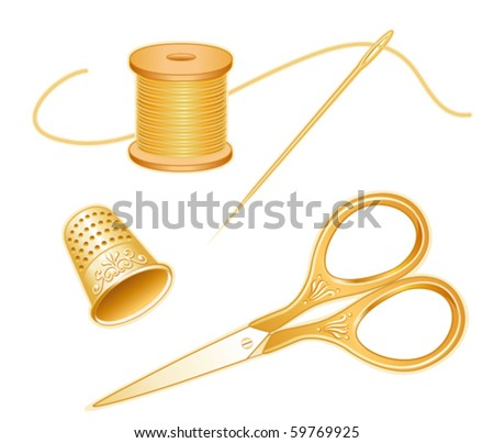 vector - Sewing Tools.  Antique gold engraved embroidery scissors, thimble, needle, golden thread isolated on white background. For needlecraft, tailoring, quilting, do it yourself sewing. EPS8. - stock vector