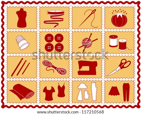 vector -Sewing Tools: fashion model, needle, thread, scissors, yarn, ribbon, pincushion, for sewing, tailoring, needlework, quilting, crochet, craft, do it yourself hobbies, red rick rack frame. EPS8. - stock vector