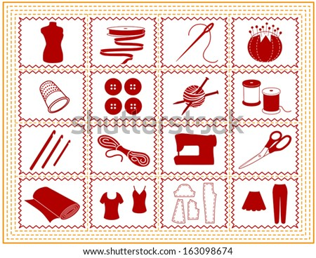 vector - Sewing tools for tailoring, dressmaking, needlework, quilting, darning, textile arts, knit, crochet, do it yourself fashion crafts, hobbies,. Red, gold stitch border frame. EPS8 compatible. - stock vector
