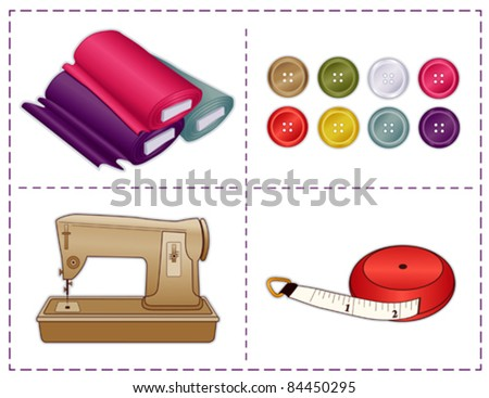 vector - Sewing Tools, Sewing machine, tape measure, bolts of fabric, buttons in Pantone fashion colors, for tailoring, dressmaking, do it yourself handmade crafts, hobbies. Stitch frame border. EPS8. - stock vector