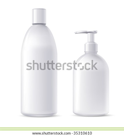 vector  shampoo and soap containers. There are VARIETY of white containers in my portfolio ;) - stock vector