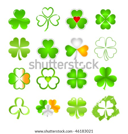 Vector shamrock emblem or symbol in a selection of designs as used on St. Patrick's Day. JPG and TIFF versions of this image are also available in my portfolio. - stock vector