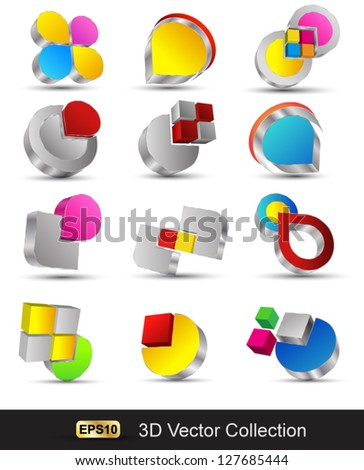 Vector shape 3d icons / high tech colorful abstract icons - stock vector