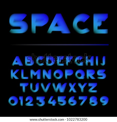 Vector shape layered font. Alphabet and numbers. Vector illustration. EPS10