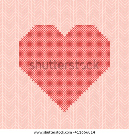 Vector shape of red heart embroidered cross, imitation of pink knitted sweater texture background. Cross stitching. Valentines day greeting card. Design for crafters, scrapbooking, handmade. - stock vector
