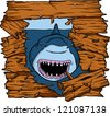 vector shark attack - stock photo