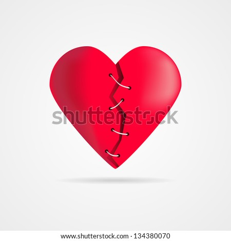 Vector shattered and patched heart with shadow - stock vector