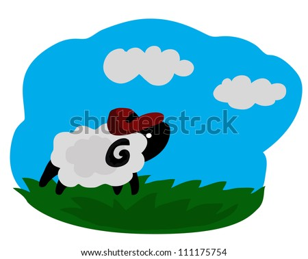 Vector - Sheep and white cloud.He want to be a cloud. - stock vector