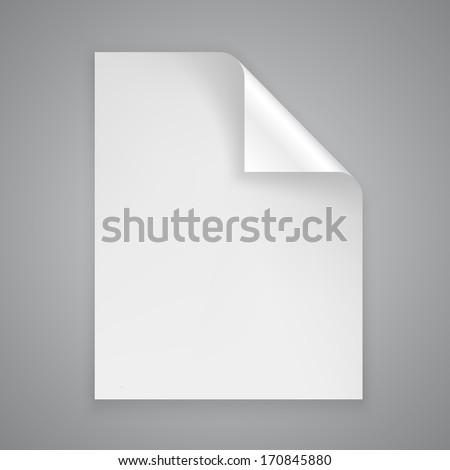 Vector sheet of paper with a bent corner - stock vector