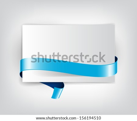 Vector sheet of paper with blue decorative ribbon - stock vector