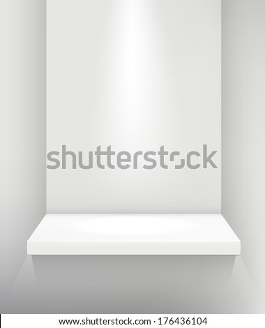 vector shelf / stand with lighting - stock vector