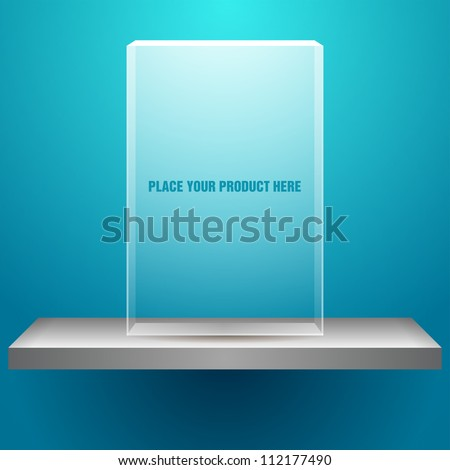vector shelf with empty transparent box for your product - stock vector