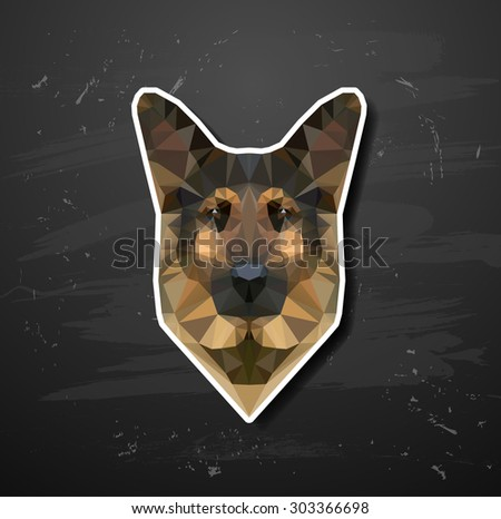 vector shepherd sheep-dog abstract triangle polygonal abstract triangle polygonal - stock vector