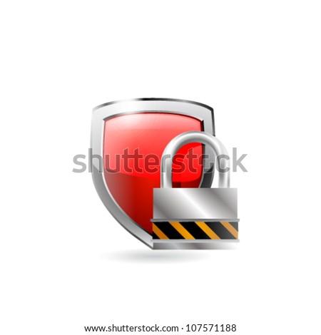 vector shield and lock - stock vector