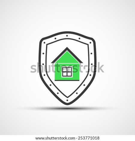 Vector shield and Real Estate - stock vector