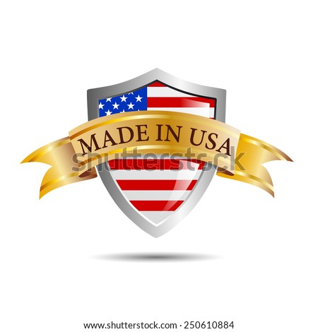 Vector shield made in USA - stock vector
