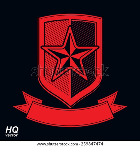 Vector shield with a red pentagonal Soviet star, protection heraldic blazon. Military armed conceptual symbol. Ussr design element. - stock vector