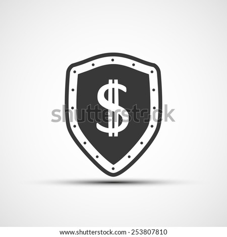 Vector shield with a shield and a dollar sign. - stock vector
