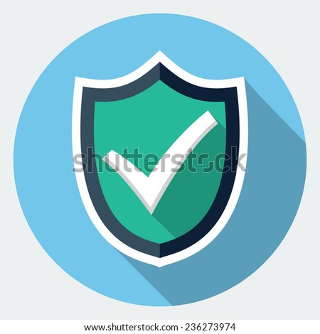 Vector shield with check mark icon - stock vector
