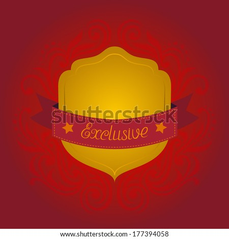 Vector shield with ribbon and swirls - stock vector
