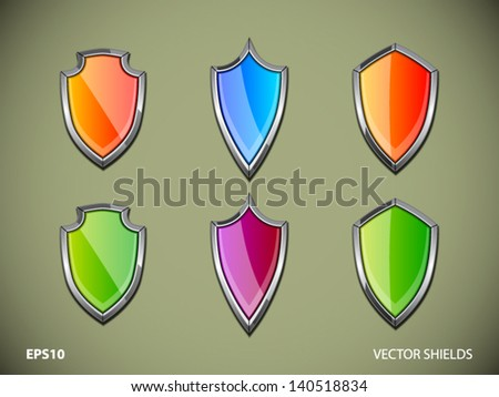 Vector shields. File is in eps10 format. - stock vector