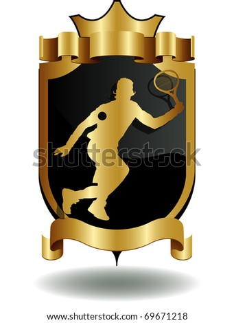 vector shields tennis player's silhouette