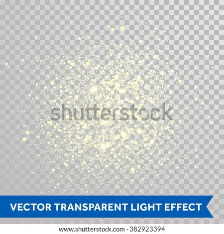 Vector shimmering particles of fireworks explosion. Glittering light effect. Twinkling lights spray on transparent background. - stock vector