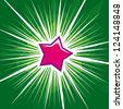 vector shine purple star with green background - stock vector